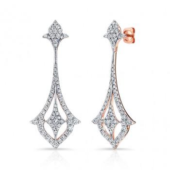 14k Rose Gold White Diamond Drop Earrings