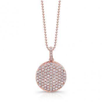 14k Rose Gold White Diamond Circle Pendant