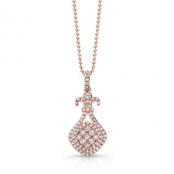 14k Rose Gold White Diamond Dangle Pendant