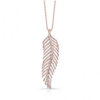 14k Rose Gold White Diamond Single Feather Pendant