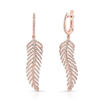 14k Rose Gold White Diamond Feather Drop Earrings