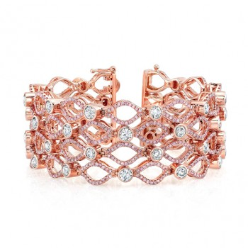 18K Rose Gold Bezel Set White Diamond Pink Diamond Accent Bracelet