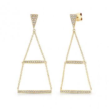 14k Yellow Gold White Diamond Bar Earrings
