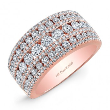 18k Rose Gold Wide Diamond Band