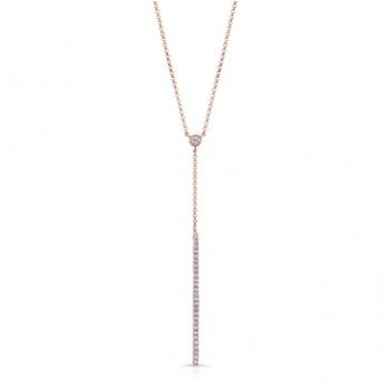 14k Rose Gold White Diamond Dangling Bar Necklace
