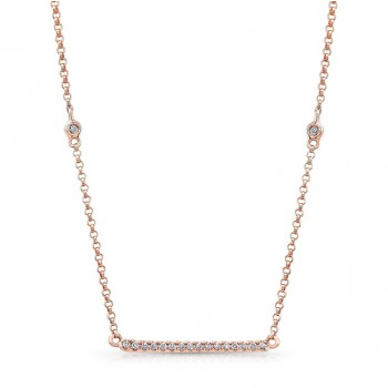 14k Rose Gold White Diamond Bar Necklace