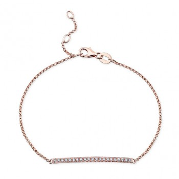 14k Rose Gold White Diamond Bar Bracelet