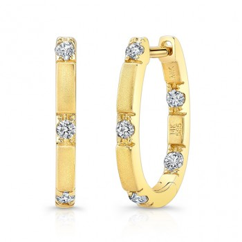 14k Yellow Gold Pave Diamond Earrings