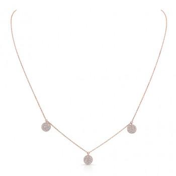 14k Rose Gold Pave Diamond Disk Necklace