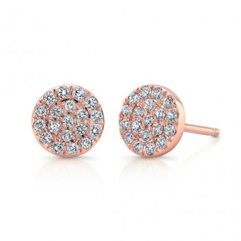14k Rose Gold Pave Diamond Circle Stud Earrings