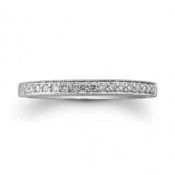 14k White Gold Vintage Diamond Wedding Band