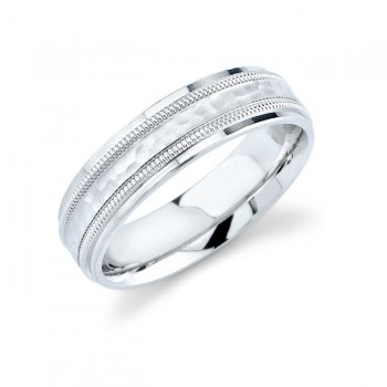 14k White Gold Mens Comfort Fit Design Wedding Band