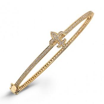 14k Yellow Gold Diamond Fleur De Lys Bangle