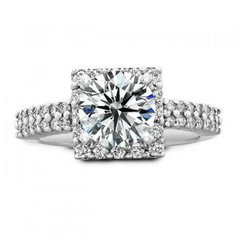 14k White Gold Round Diamond Halo Bridal Set - NK19382WE-W
