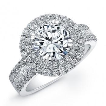 18k White Gold Halo Diamond Baguette Engagement Semi Mount - NK19438-W