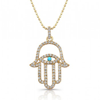 14k Yellow Gold Diamond Hamsa & Evil Eye Pendant