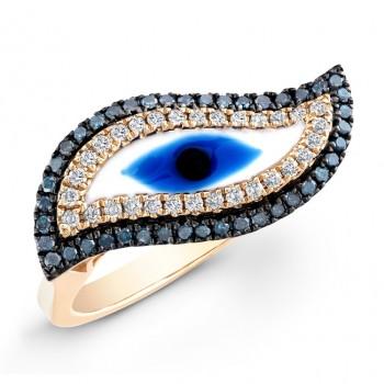 14k Rose Gold Swirl Evil Eye Ring
