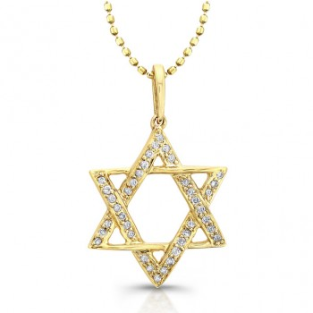 14k Yellow Gold Diamond Star of David Pendant