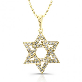 14k Yellow Gold Diamond Star of David Triangle Pendant