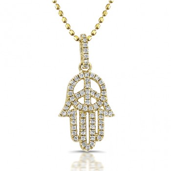 14k Yellow Gold Diamond Peace Hamsa Pendant