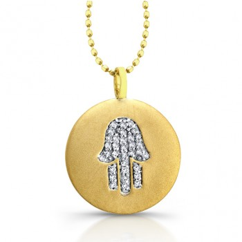 14k Yellow Gold Diamond Hamsa Disk Pendant