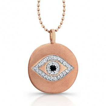 14k Rose Gold Diamond Evil Eye Disk Pendant