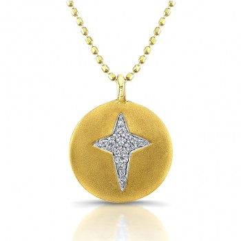 14k Yellow Gold Diamond Cross Disk Pendant