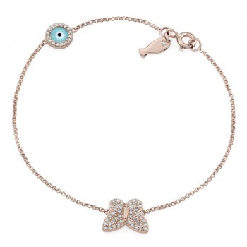 14k Rose Gold Butterfly Fish and Evil Eye Diamond Bracelet