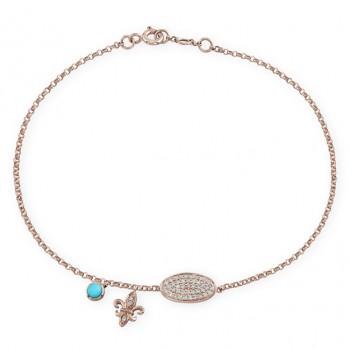 14k Rose Gold Pave Fleur De Lys Diamond Bracelet