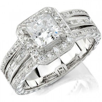 14k White Gold Diamond Baguette Halo Semi Mount Engagement Ring NK10131-W
