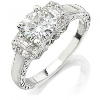 14k White Gold Three Stone Emerald Cut Diamond Engagement Semi NK10402-W