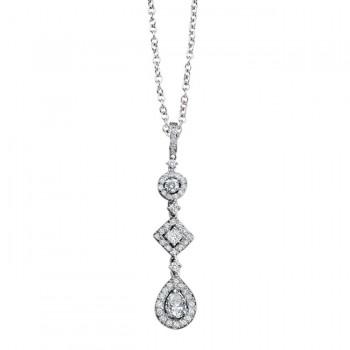 14k White Gold Princess Emerald Diamond Drop Pendant NK10408-W