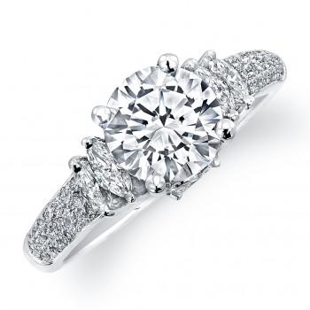 14k White Gold Diamond Engagement Semi Mount Ring NK10762-W