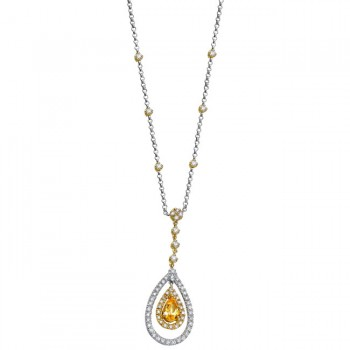 18k White and Yellow Gold Citrine Round Diamond Necklace - NK11548CT-WY