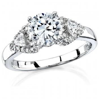 18k White Gold Prong Three Stone Trapezoid Diamond Semi Engagement Ring NK11573-W