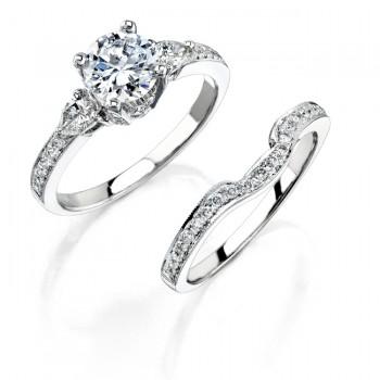 14k White Gold Three Stone Pear Shaped Diamond Bridal Ring Set NK12050WE-W