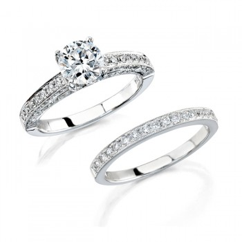 14k White Gold Pave Bezel Diamond Bridal Set NK12061WE-W