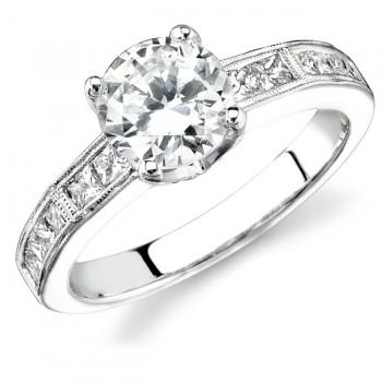 14k White Gold Princess Cut Diamond Engagement Semi Ring NK12445-W