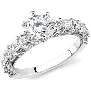 18k White Gold Round Baguette Diamond Semi Mount - NK12879-W