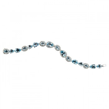 18k White Gold Blue Topaz Diamond Bracelet - NK13426BTPZ-W