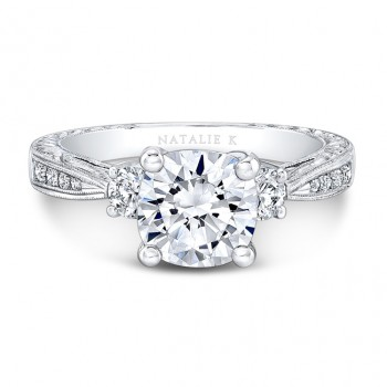 14k white Gold Tapered Milgrain Shank Diamond Engagement Ring