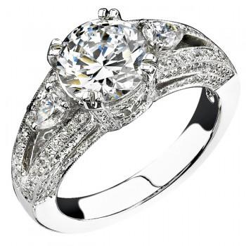 14k White Gold Three Stone Pear Shaped Diamond Engagement Semi Ring NK13984-W