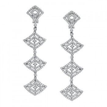 14k White Gold Dangle Diamond Earrings - NK14141-W