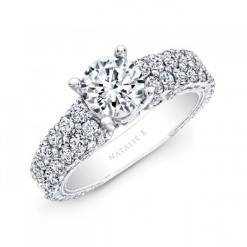18k White Gold Pave Diamond Engagement Ring