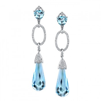 14k White Gold Elegant Blue Topaz Diamond Earrings - NK14810BT-W