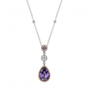 14k White and Rose Gold Pink Sapphire and Amethyst Diamond Necklace - NK14977AM-WR