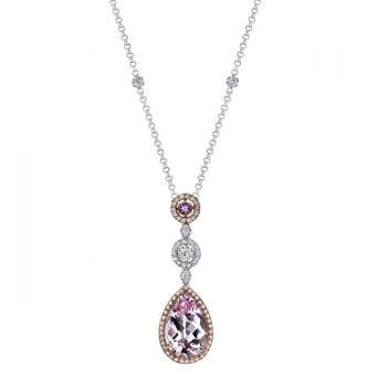 14k White and Rose Gold Hanging Pink Amethyst Diamond Necklace - NK14977PKAM-WR