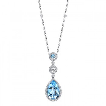 18k White Gold Pave Blue Topaz Diamond Necklace - NK14977BTPZ-W