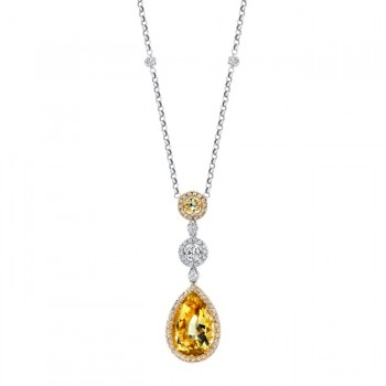 18k White and Yellow Gold Drop Lemon Quartz, Yellow Sapphire and Diamond Necklace NK14977LQ-WY