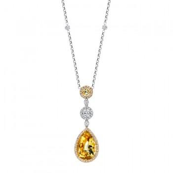 18k White and Yellow Gold Drop Lemon Quartz, Yellow Sapphire and Diamond Necklace NK14977LQ-WY